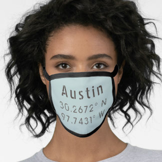 Austin Latitude and Longitude Face Mask