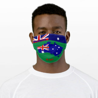 Australia Map w/ Green Adult Cloth Face Mask