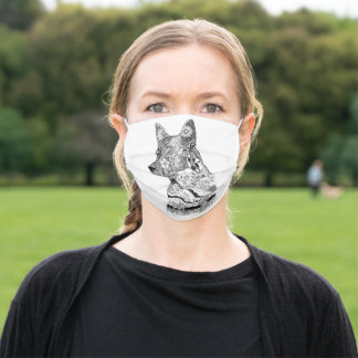 Australian cattle dog black and white line art adult cloth face mask