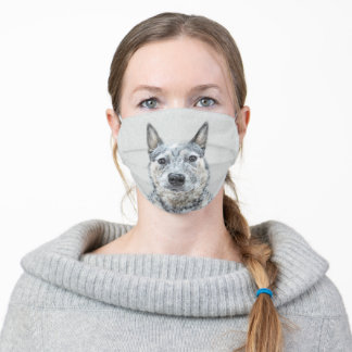 Australian Cattle Dog Painting - Cute Original Art Adult Cloth Face Mask