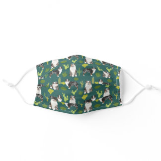 Australian Shepherd dog cactus green Adult Cloth Face Mask