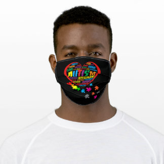 Autism  Awareness Autism Heart Typography Adult Cloth Face Mask