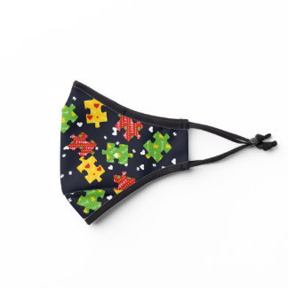 Autism Awareness Autistic Puzzles Red Yellow Green Premium Face Mask