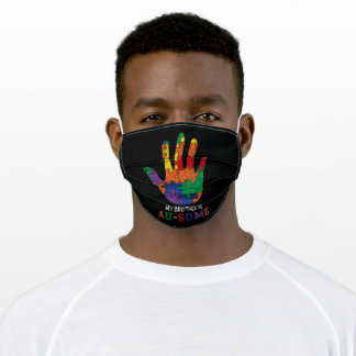 Autism Awareness My Brother Is Awsome Autistic Kid Adult Cloth Face Mask