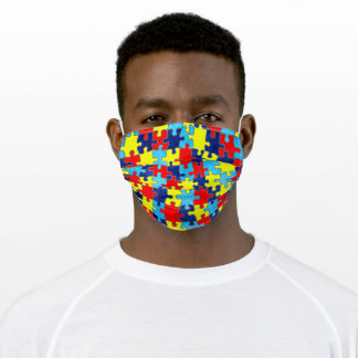 Autism Awareness-Puzzle by Shirley Taylor Adult Cloth Face Mask