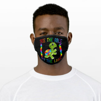 Autistic |See The Able Not The Label Turtle Puzzle Adult Cloth Face Mask
