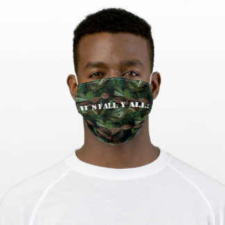 Autumn Camo Green Brown Leaves Custom Adult Cloth Face Mask