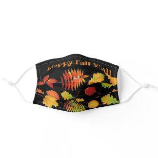 Autumn Leaves on Black / Happy Fall Y'all Seasonal Adult Cloth Face Mask