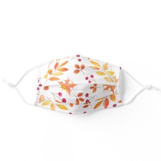 Autumn Leaves Watercolor Adult Cloth Face Mask