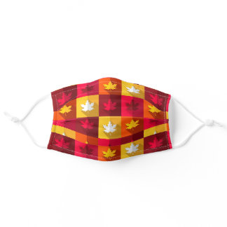 Autumn Maple Leaves Bright Patchwork Adult Cloth Face Mask
