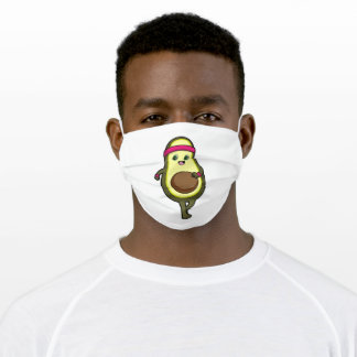 Avocado at Jogging with Headband Adult Cloth Face Mask