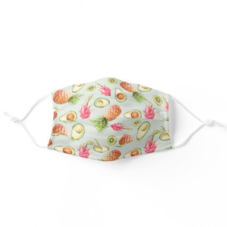 Avocado, Pineapple, Kiwis and Dragonfruit Pattern Adult Cloth Face Mask