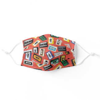 Awesome Retro 80's Cassette Tapes Pattern Adult Cloth Face Mask