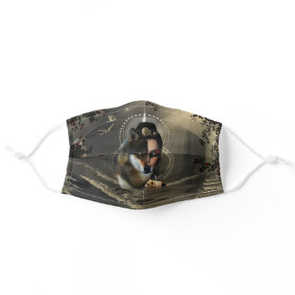 Awesome wolf and fairy adult cloth face mask