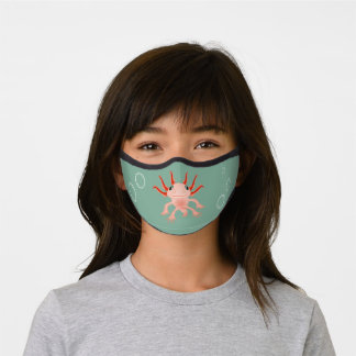 Axolotl Pink and Green with Bubbles Kids Girls Premium Face Mask