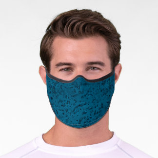 Azure Blue Cork Look Wood Grain Premium Face Mask