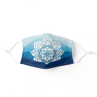 Azure Sky and Ocean Blue Ombre Floral Mandala Adult Cloth Face Mask