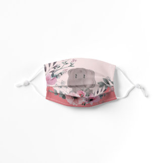 Baby Elephant and Flowers Kids Face Mask