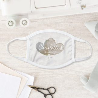 Baby girl christening lace heart look face mask