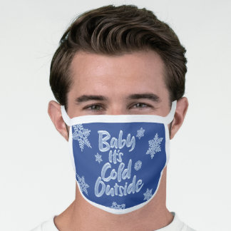 Baby It's Cold Outside Navy Blue Frozen Christmas Face Mask