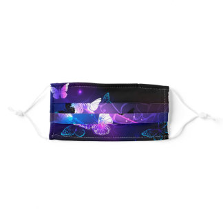 Background with Night Butterflies Adult Cloth Face Mask