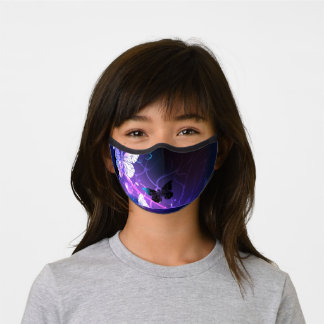 Background with Night Butterflies Premium Face Mask