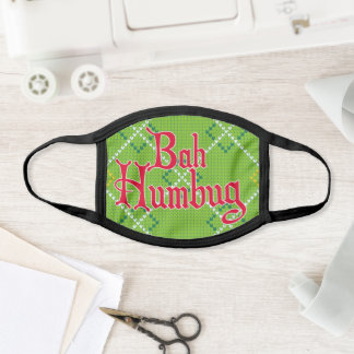 Bah Humbug Green Faux Knitted Face Mask