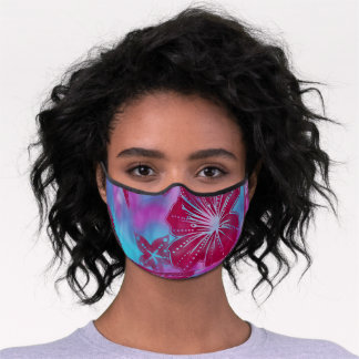 Bali Flower Batik Tropical Fuchsia and Turquoise Premium Face Mask