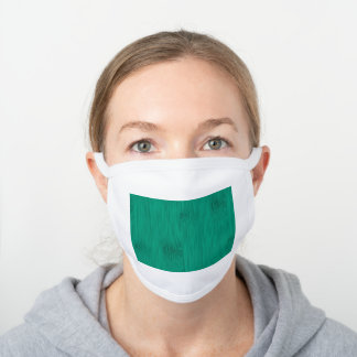 Bamboo Wood Grain Look in Green Jade White Cotton Face Mask