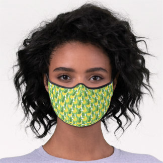 Banana Leaves And Fruit Pattern Premium Face Mask