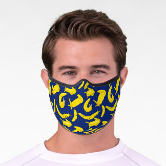 Banana Slugs Bright Yellow and Blue Patterned Premium Face Mask