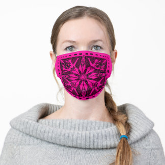 Bandana Kerchief Shawl  Pattern - hot pink Adult Cloth Face Mask