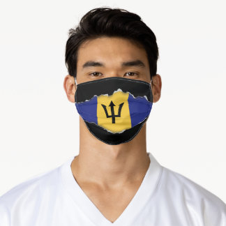 Barbados Flag | Faux Torn Out Look Adult Cloth Adult Cloth Face Mask