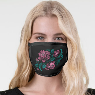 Baroque-Style Embroidery Pink Teal Floral Black Face Mask