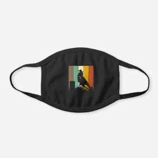 Barrel Racing Retro 80s Style Western Horse Rac Black Cotton Face Mask