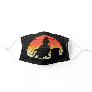 Barrel Racing Sunset Retro 80S Rodeo Horse Gift Adult Cloth Face Mask