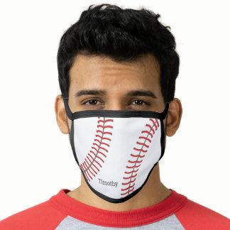 Baseball Drawing with Classic Monogram Name Face Mask