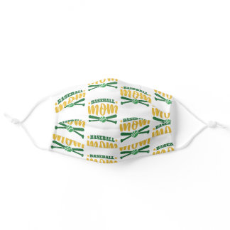 Baseball Mom Green Yellow Pattern Cool Sport Lover Adult Cloth Face Mask