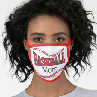 Baseball Mom Red stitched Ball Face Mask