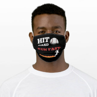 Baseball Saying Hit Hard Run Fast Adult Cloth Face Mask