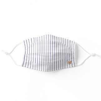 Baseball Stripe w Optional Initial Adult Cloth Face Mask
