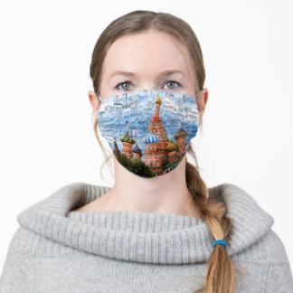 Basil's Cathedral collage - russia - kremlin Holid Adult Cloth Face Mask