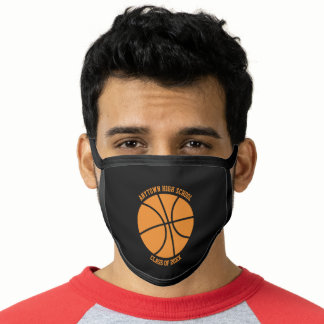 Basketball Black Orange Class Of 2021 Graduation Face Mask