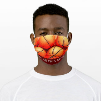 Basketball Close-up - Popular Sports Art Adult Cloth Face Mask