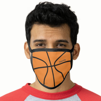 Basketball Drawing with Name - Black and Orange Face Mask