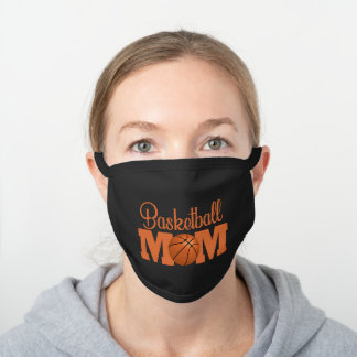Basketball Mom word art sports Black Cotton Face Mask