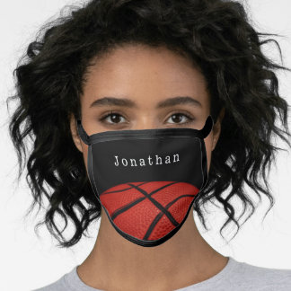 Basketball  Personalized with name orange & Black Face Mask