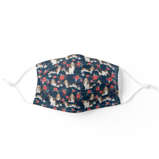 Basset Hound Navy and Poppy Floral Adult Cloth Face Mask
