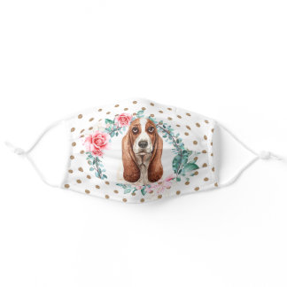 Basset hound rose wreath polka dot pattern adult cloth face mask