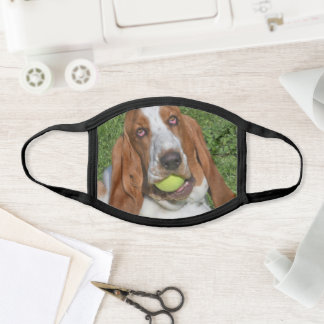 Basset Hound Wants  To Play Tennis Face Mask